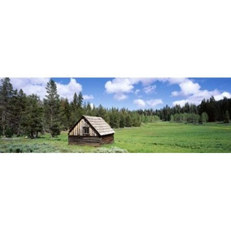 Log cabin in a field Klamath National Forest California USA Poster Print