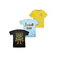 Nickelodeon Spongebob Squarepants Short Sleeve Graphic Tees, 3pk (Little Boys & Big Boys)