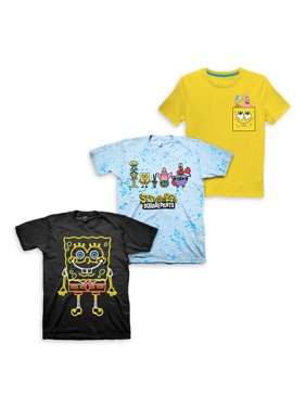 Nickelodeon Spongebob Squarepants Short Sleeve Graphic Tees, 3pk (Little Boys & Big Boys)