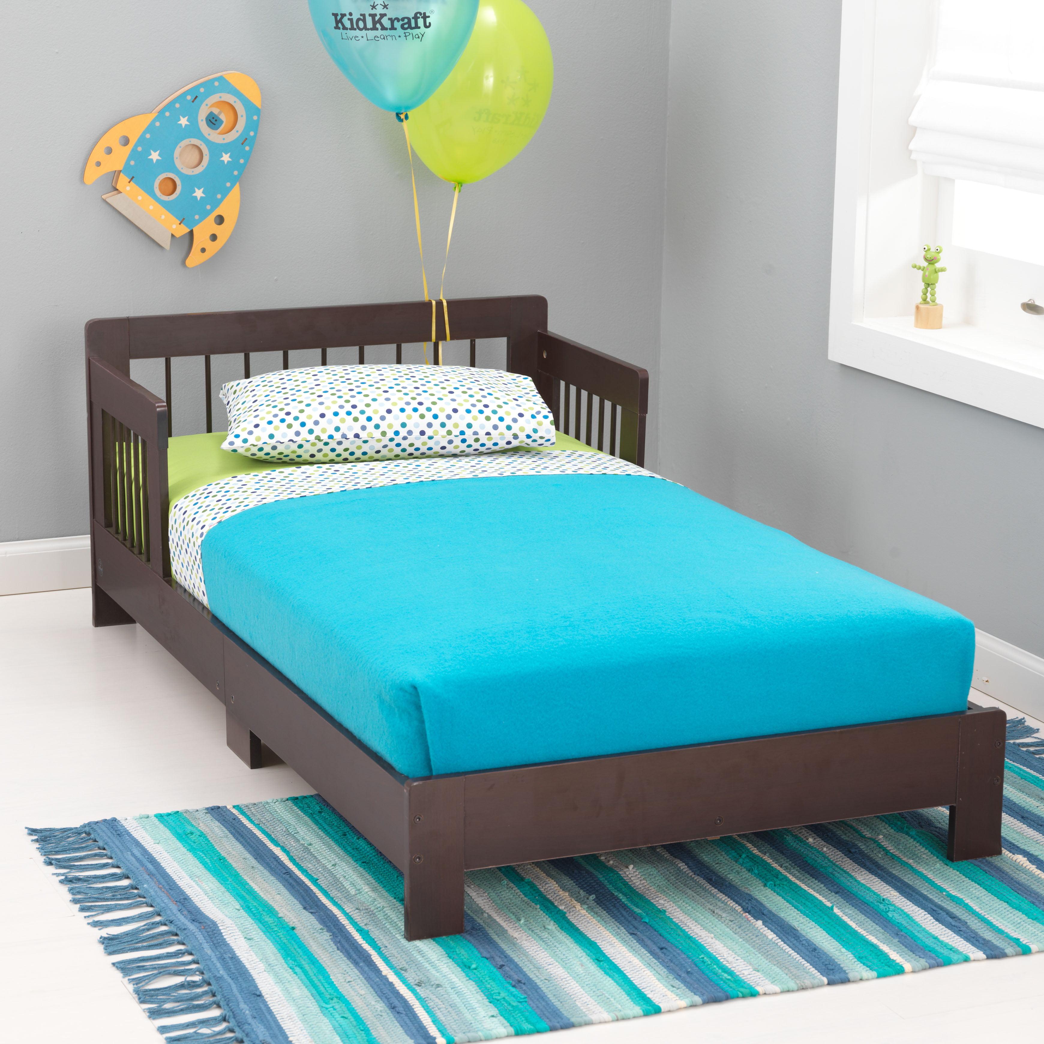 kidkraft houston wooden toddler bed with side rails and spindlekidkraft houston wooden toddler bed with side rails and spindle headboard honey walmart com