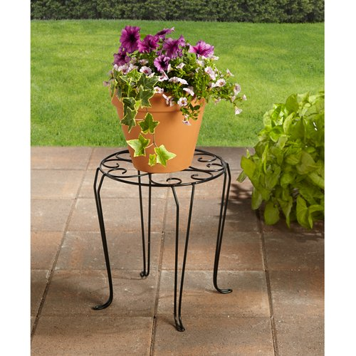 "Better Homes and Gardens 15"" Iron Scroll Plant Stand"