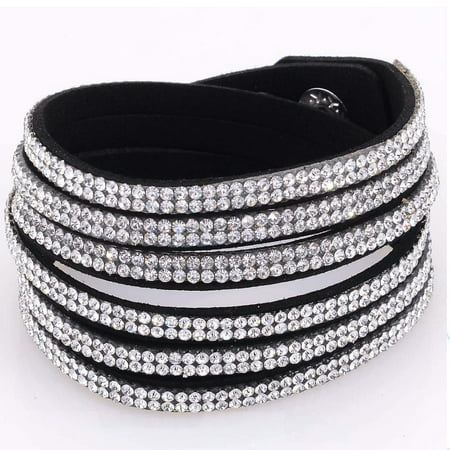 Fashionable Rhinestone and Silvertone Studded Wrap Bracelet For Women - White Glow Bracelets