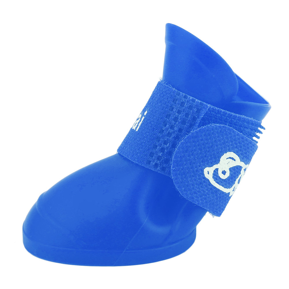Creative Design Pet Dogs Lovely Comfortable Waterproof PVC Boots Fashionable Type Soft Rain Shoes For Small Dogs Blue Size S