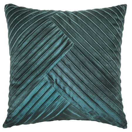 "Better Homes & Gardens Pleated Velvet Decorative Throw Pillow, 18"" x 18"", Teal"