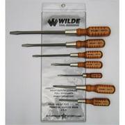 Wilde Tool Sw7/Vp 7-Piece Wooden Handle Screw Driver Set Vinyl Pouch