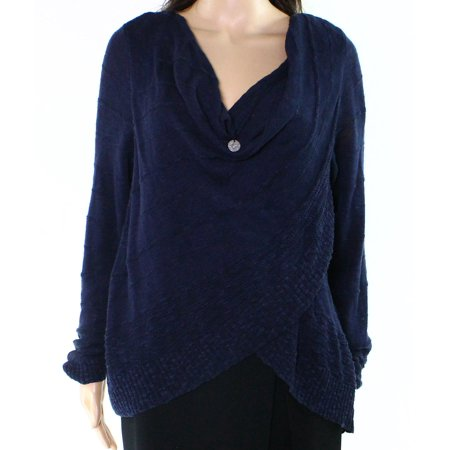 Womens Crossover - INC NEW Twilight Blue Womens Size Large L Draped Crossover Knit Top