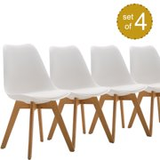 """CLEARANCE! Dining Chair Set of 4, 19"""" x 21"""" x 32"""" Comfortable Shell Tulip Chair with Sturdy Heavy-Duty Wood Legs, for Home/Kitchen/Dining Room/Ceremony/Party, White, S12436"""