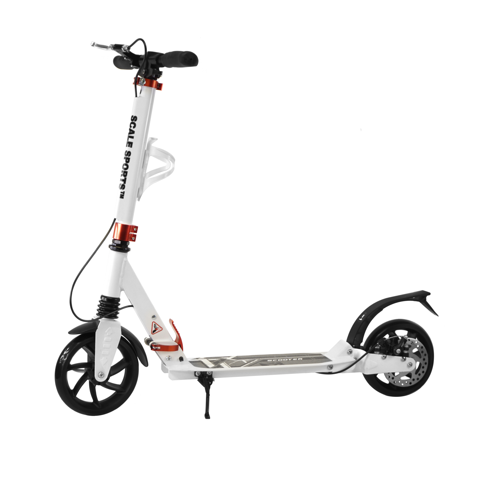 Adult White Kick Scooter Portable Lightweight Adjustable Suspension Disc Hand Brake by Scale Sports
