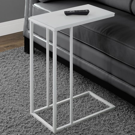 Tempered Frosted Glass Table (Monarch Accent Table White Metal With Frosted Tempered Glass )
