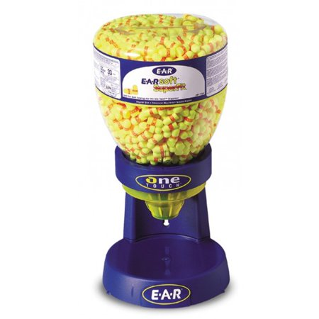 Image of 3M E-A-R E-A-Rsoft SuperFit One Touch Dispenser Refill With Single Use Tapered PVC And Foam Uncorded Earplugs (500 Pair Per One Touch Refill Bottle)