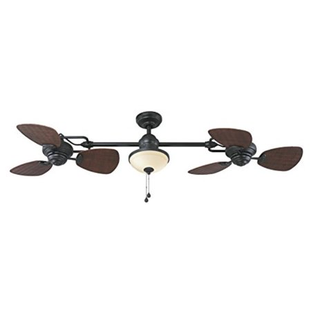 Harbor Breeze Twin Breeze Ii 74-in Oil-rubbed Bronze Outdoor Downrod Ceiling