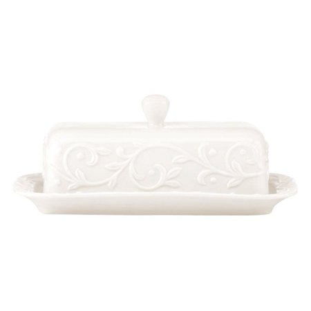 Lenox Opal Innocence Carved Covered Butter Dish