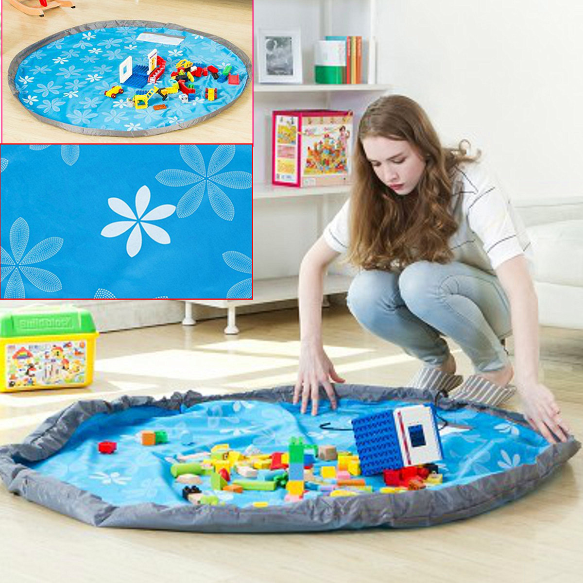 60 inch Portable Indoor/Outdoor Water Resistant Childrens Infant Kid Baby Children Floor Play Mat Toy Storage Bags Organizer In Portable Shoulder Bag Large Net Blanket Rug Boxes