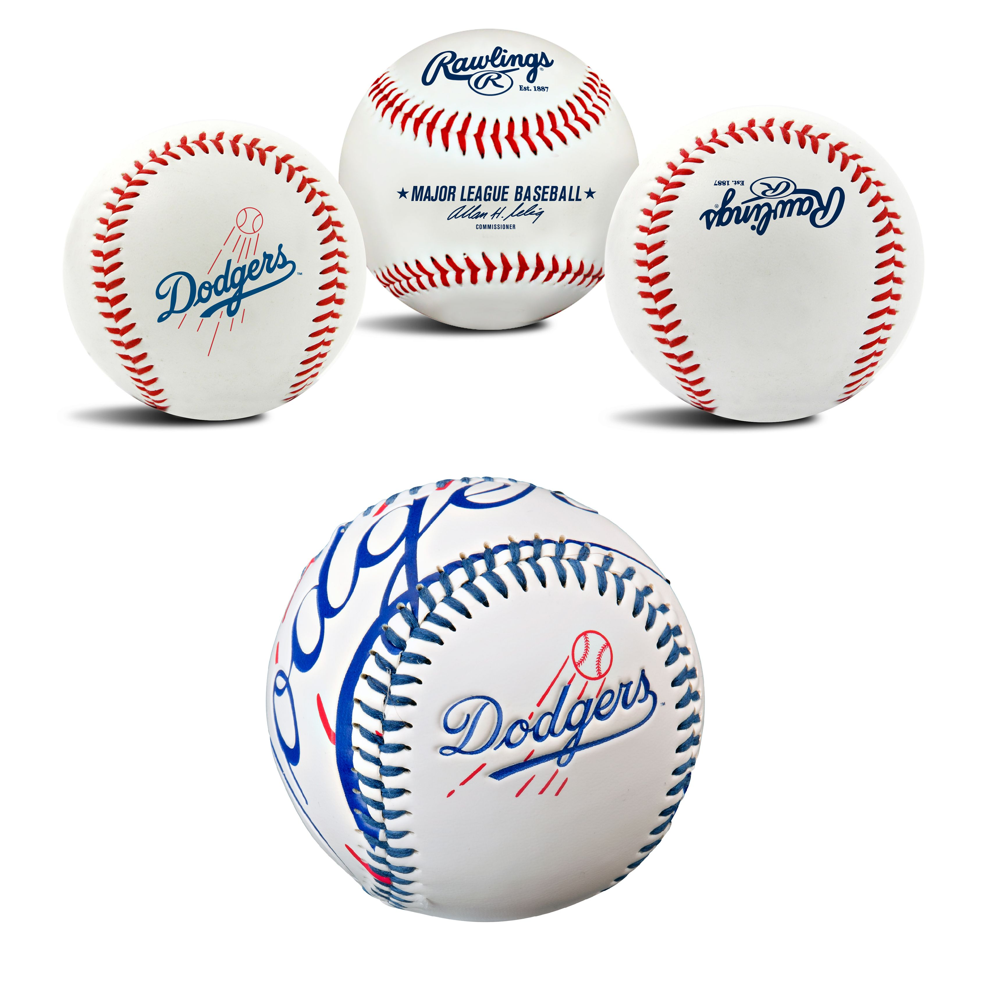 Los Angeles Dodgers MLB Retro and Team Logo Authentic Baseballs Bundle 2 Pack