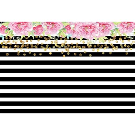 HelloDecor Polyester 7x5ft Photography Background Black and White Horizontal Stripes Backdrop with Top Flowers Pink Gold Dots Wedding Party Holiday Home Decorat - Holiday Backdrops