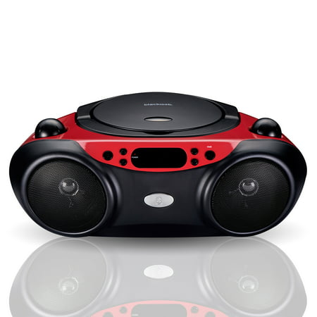 Blackweb Bluetooth CD Player with FM Radio, Red and (Best Cd Radio Boombox)