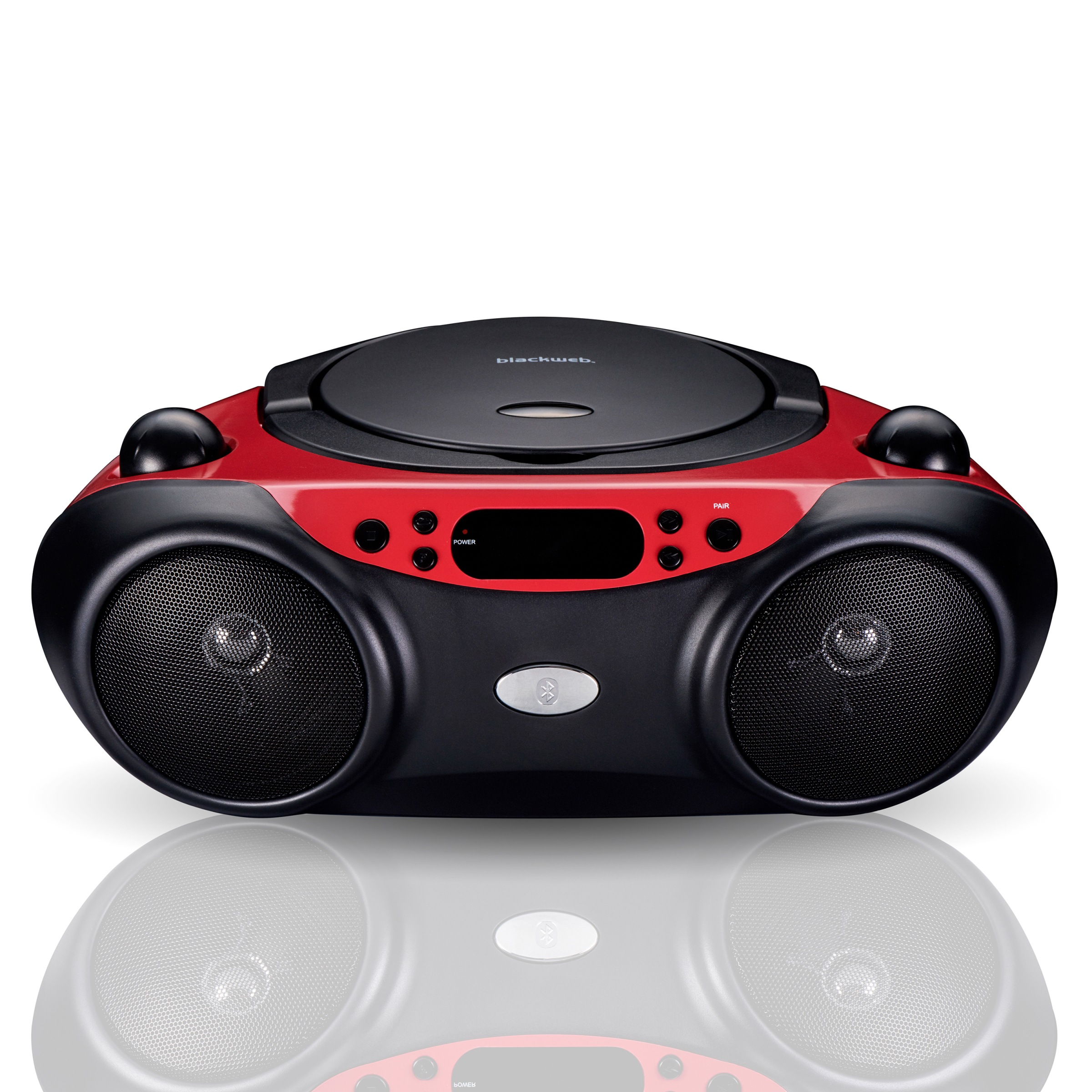 Blackweb Bluetooth CD Player with FM Radio, Red and Black