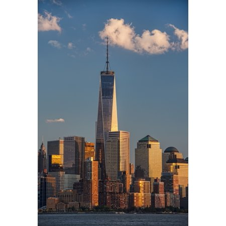World Trade Center and Lower Manhattan at sunset New York City New York United States of America Stretched Canvas - F M Kearney  Design Pics (12 x 19)