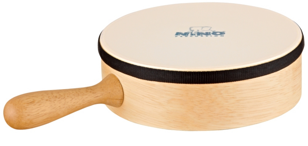 "Nino 8"" Hand Drum with Handle Synthetic Head Natural 8 in. by Nino"
