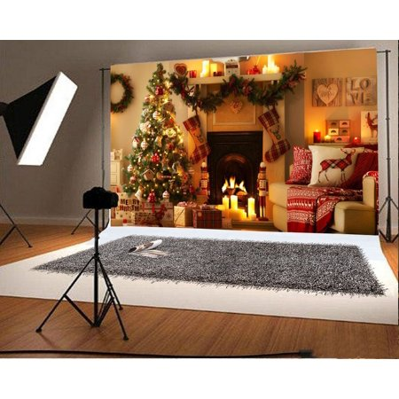 Hellodecor Polyster 7x5ft Photography Backdrops Christmas Tree And Christmas Fireplace Photo Backgrounds Studio Props
