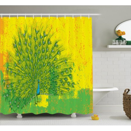 Peacock Decor Shower Curtain Set Peacock Over An Abstract Grunge Background Sketchy Stylized