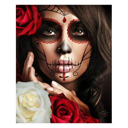 Raquel Daniel Esparza Framed Art Print Sugar Skull Tattoo Face Sexy Latina Mexican ()