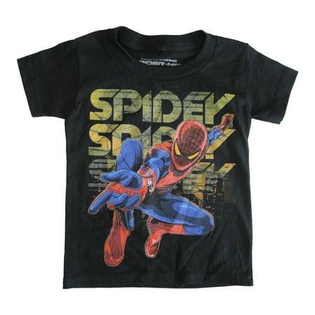s Little Boys Black Spidey Graphic Print Crew Neck Cotton T-Shirt 2-4T