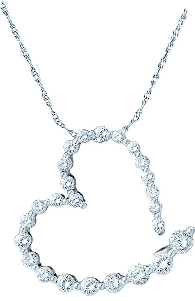 14k White Gold Round Pave-set Natural Diamond Womens Open-Center Heart Pendant (1.00 cttw.) by Mias Collection