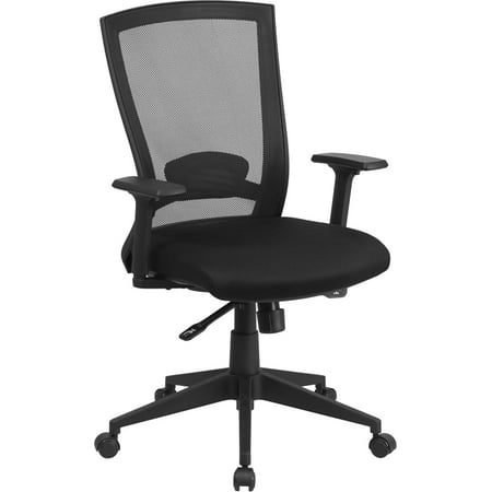 Mid-Back Black Mesh Swivel Ergonomic Office Chair Back Angle Adjustment and -