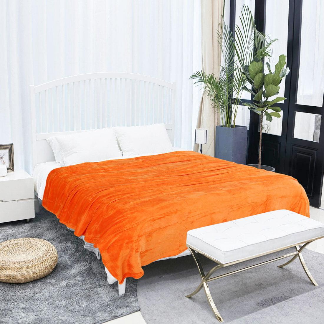 Microfiber Flannel Fleece Blanket Plush Throw Orange Twin Full Queen by