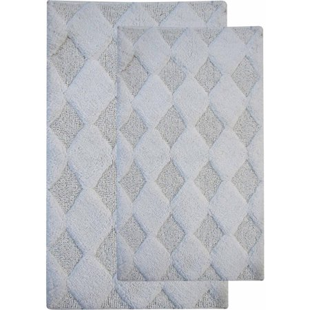 Textured White Bath Exhaust - Saffron Fabs Bath Rug 2-Piece Set, Solid Color Diamond Pattern, Assorted Colors and Sizes