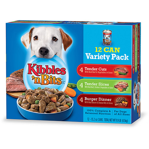 Kibbles 'n Bits Wet Dog Food Variety Pack Featuring Burger Dinner With Real Bacon & Cheese Bits in Gravy, 13.2-Ounce Cans (Pack of 12)