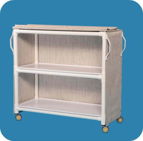 MRI Compatible Deluxe Linen Cart with Two Removable Shelves - MRILC462SM - Silverado Mesh Cover