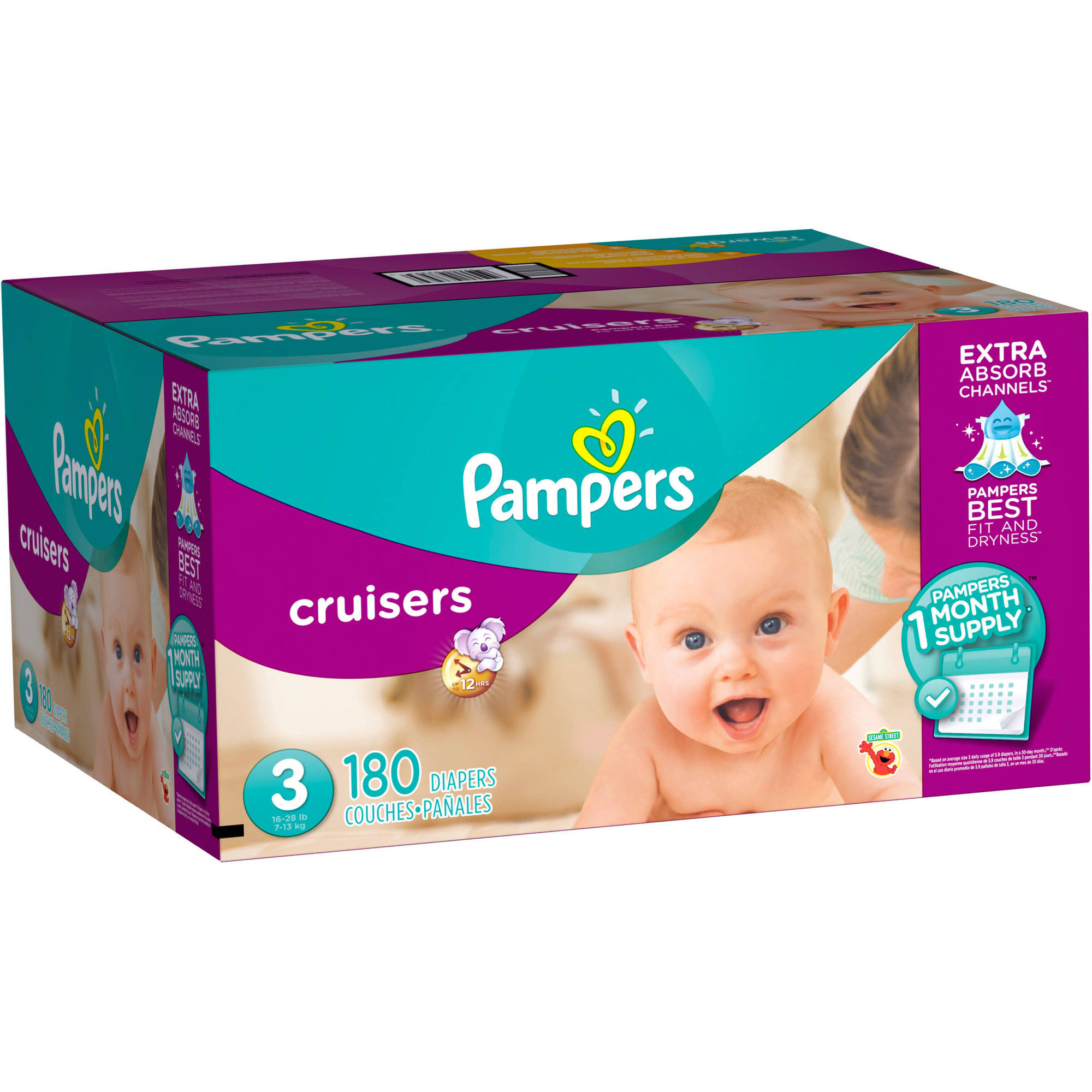 Pampers Cruisers Diapers One Month Supply, (Choose Your Size)