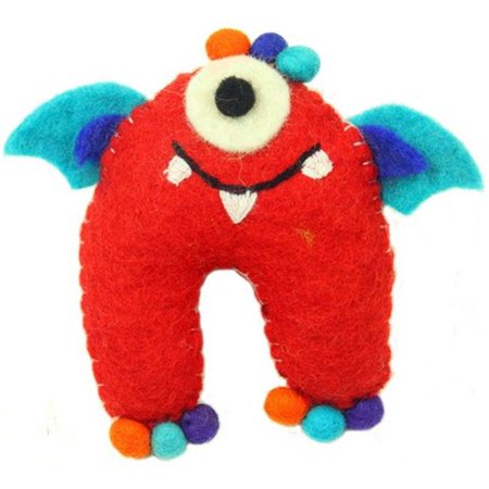 Felt Tooth - Hand Felted One-Eyed Tooth Monster with Wings, Red