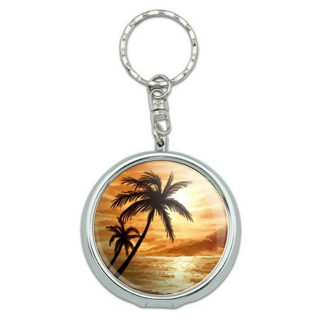 Sunset Beach Palm Tree Hawaii Paradise Orange Portable Ashtray Keychain