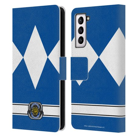 Head Case Designs Officially Licensed Power Rangers Retro Costumes Blue Ranger Leather Book Wallet Case Cover Compatible with Samsung Galaxy S21 5G