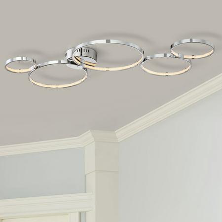 Possini Euro Design Modern Ceiling Light Flush Mount Fixture LED Chrome 40