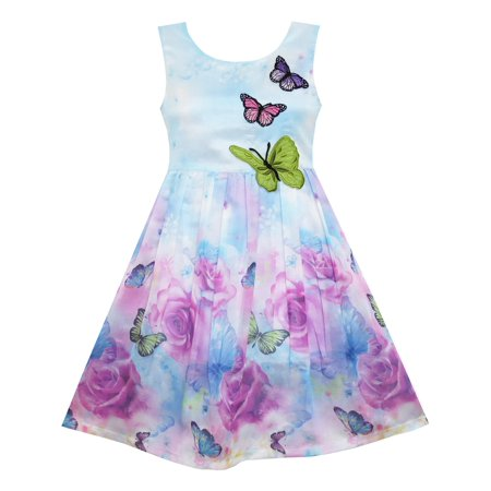 Purple Butterfly Flower - Girls Dress Rose Flower Print Butterfly Embroidery Purple 4