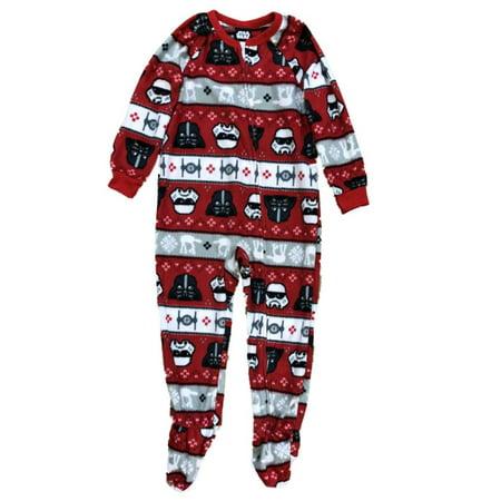 Toddler Boys Red Stripe Fleece Star Wars Footie Pajamas Darth Vader - Star Wars Footie Pajamas
