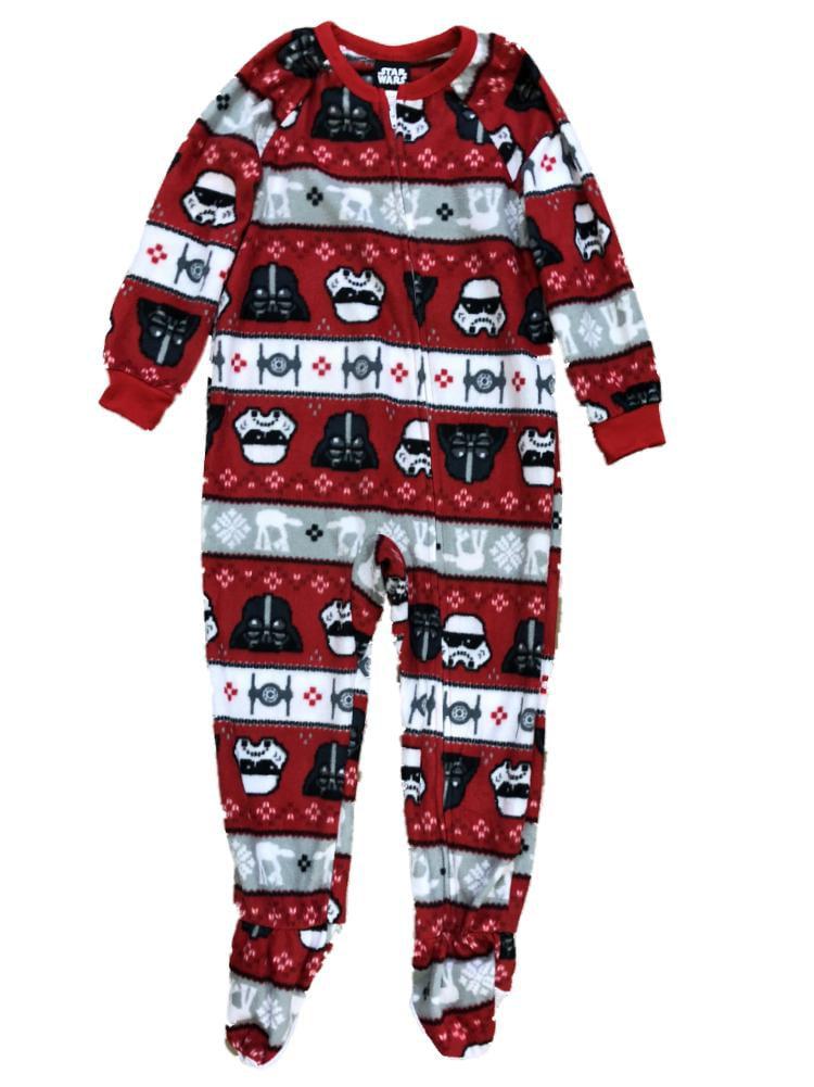 Toddler Boys Red Stripe Fleece Star Wars Footie Pajamas Darth Vader Sleeper