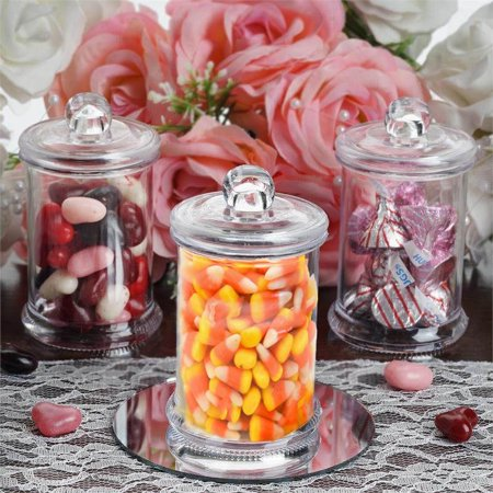 Efavormart 12 Pack 6oz Clear Plastic Candy Beverage Disposable Favor Jar Container With Clear Lid For Wedding Party Event - Candy Bowls For The Candy Buffet