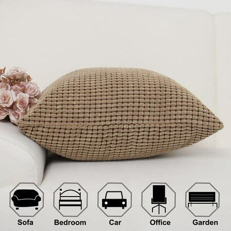 "Sofa Cushion Cover Striped Corduroy Throw Toss Pillow Cases 18"" Brown - image 1 de 7"