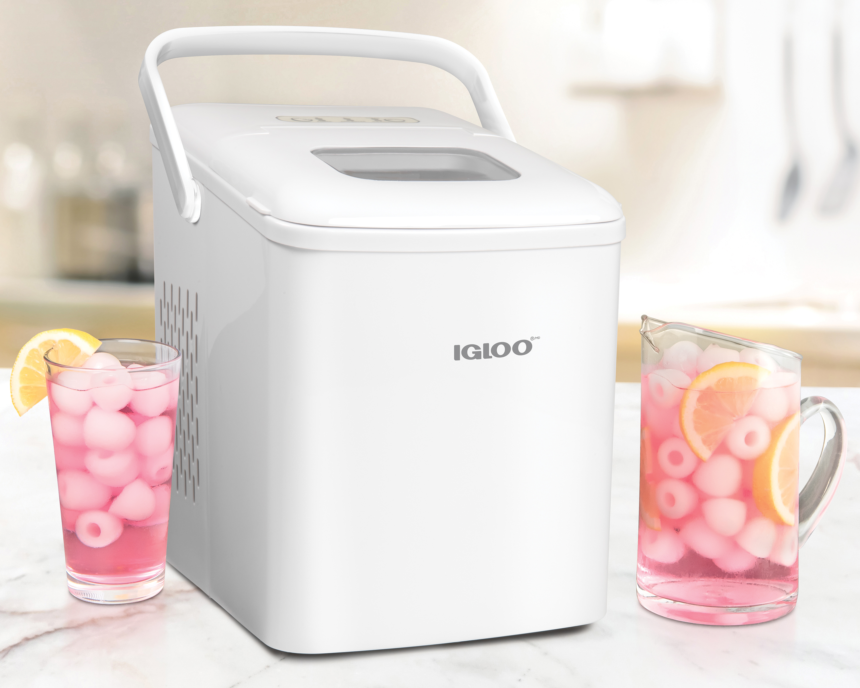 Igloo Iceb26hnwh 26 Pound Automatic Self Cleaning Portable Countertop Ice Maker Machine With Handle White Walmart Com Walmart Com