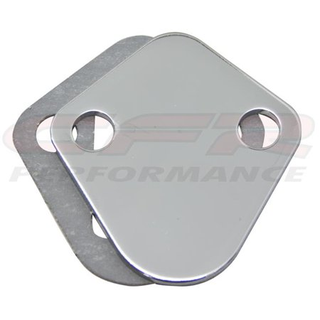 Steel Chevy BB 396-454 & Ford Fuel Pump Block Off Plate - Chrome