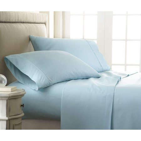 Merit Linens Luxury Hotel Quality Soft Embossed Checker 4 Piece Bed Sheet Set - California King - Aqua