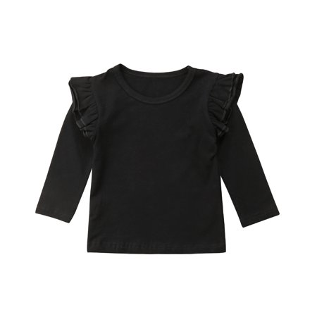 Little Baby Girl Cotton Ruffle Long Sleeve T-Shirt Blouse Spring Autumn Tops Tee (2-3T, Black)](Black Suits For Toddlers)
