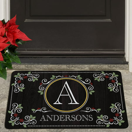 Personalized Elegant Holiday Scroll Doormat