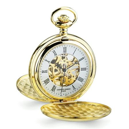 - Lex & Lu Charles Hubert 14k Gold Finish White Skeleton Dial Pocket Watch XWA1035