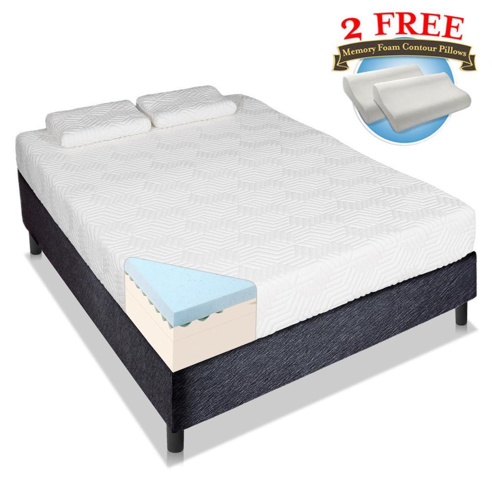 """Ktaxon 14"""" inch Queen Size Cool Medium Firm Memory Foam Mattress 2 Free Pillows White"""